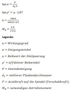 Formeln zur Berechnung des Antriebsdrehmoments