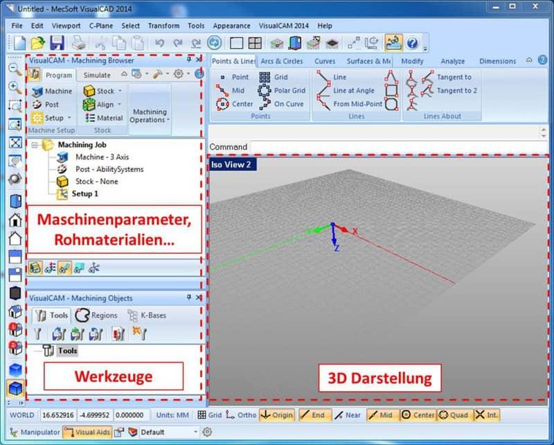 CAM Simulator Oberfläche