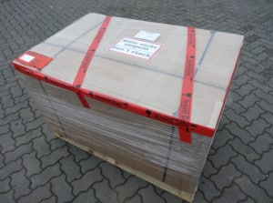 Verpackte Fräsmaschine auf Palette