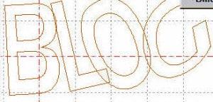 Schriftzug mit überlappenden Buchstaben