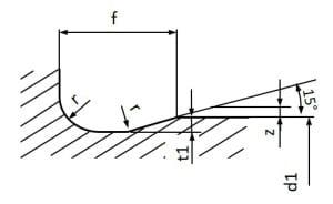 Freistich DIN 509 - Form E - Maßbild