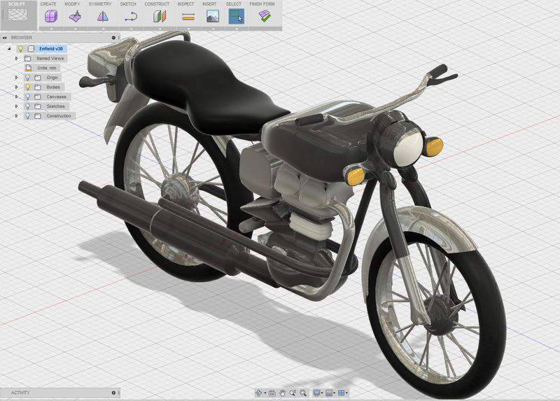 Bike designed in Autodesk Fusion 360