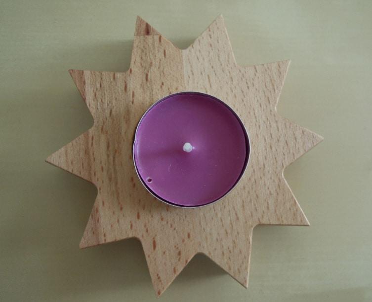 Teelichthalter aus Holz selber basteln