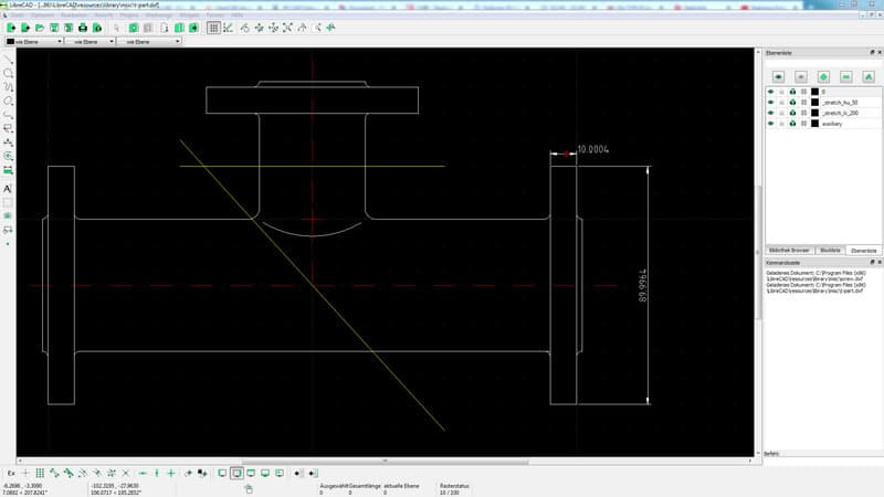 Drawing Flange in LibreCAD