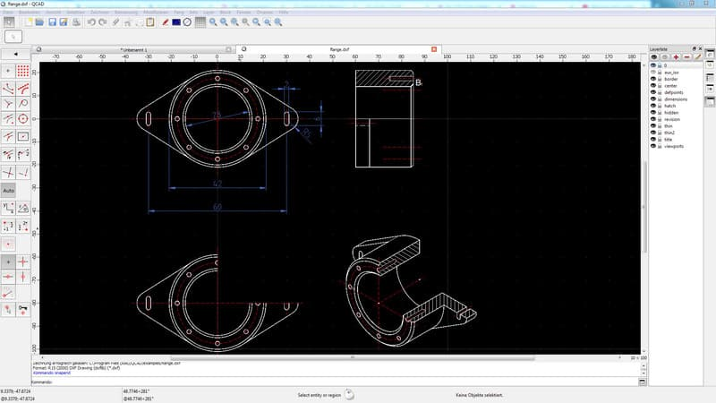 Flange drawn in QCAD
