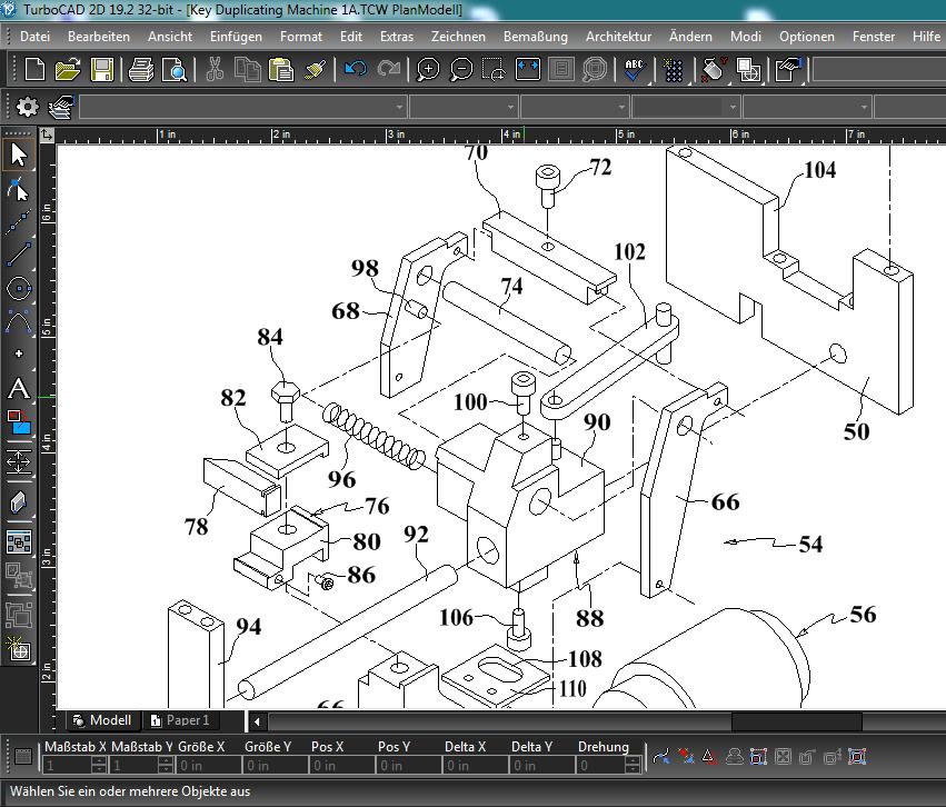 Patentzeichnung mit TurboCAD erstellt