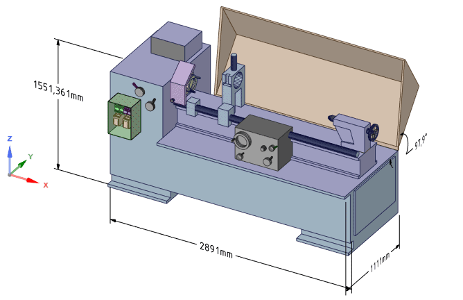 Baugruppe Drehbank in Design Spark Mechanical