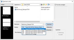 TurboCAD 2D - Liste der zulaessigen Datenformate bei Export