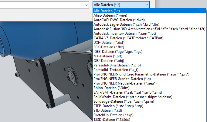Liste zulaessige Datenformate fuer Datenimport Fusion 360